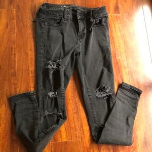 American Eagle Outfitters Jeans - Ripped black skinny jeans (jegging)